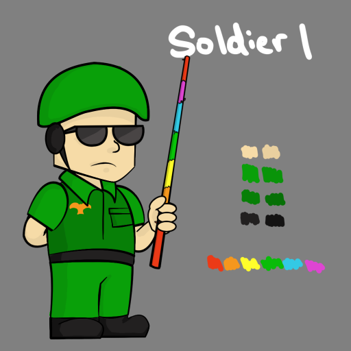 Soldier 1, like Officer 1, wields a piñata bat.